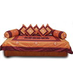 Ethnic Orange Maroon Dewan Cushion Bolster 8Pc Set 304