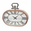 Oval shape copper finish Steel Table top Clock