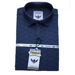 Collar Neck Cotton Mens Blue Plain Shirt