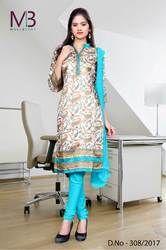 Sky Blue and Cream Mulberry Silk Uniform Salwar Kameez