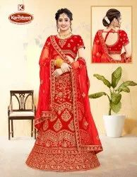Fancy Fabric Heavy Embroidery & Diamond Work 3 PCS Lehenga with Blouse & Dupatta - Sarvottam
