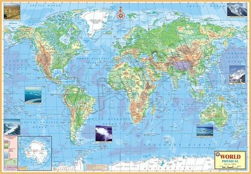 Multicolor Laminated Paper World Physical For Wall Map Physical ...