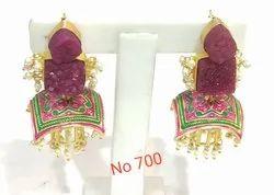 Duzhi Brass Meenakari Earring