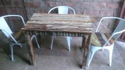 Optional Industrial Metal Reclaimed Wood Dining Table Chair Set, Seating Capacity: 4 Seater, Size: 90x60x75cm