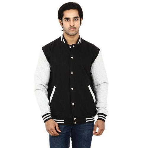 Black And White Full Sleeve Mens Collar Jacket