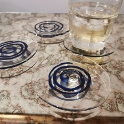 Blue rustic horse Glass Coasters, Size: Standard