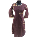 Ladies Chanderi 3/4th Sleeve Traditional Kurti, Size: Xl