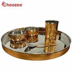 Choozee - Copper Thali Set (5 Pcs) of Plate, Bowl, Spoon & Glass