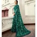 Multi Designer Casual Wear Georgette Saree And Navy Blue Blouse