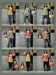 Round Neck Formal Wear Ladies Cotton Western Short Kurta, Wash Care: Handwash