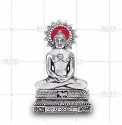 Silver Plated Mahavir Swami Statue