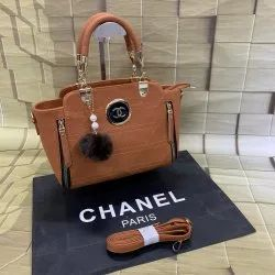 PU leather Plain Chanel Handbags, For Office, Size: H-8inch,W-10inch
