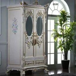 Off White Designer Wooden Almirah, For Home
