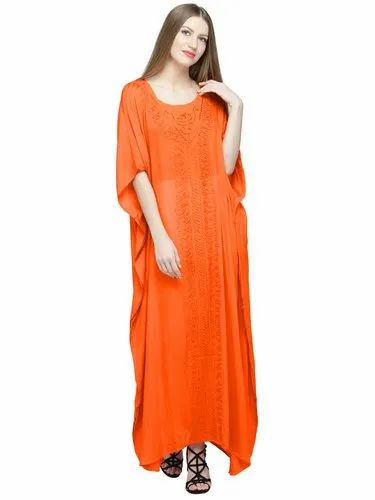 a84c3bb463 Skavij Cool Kaftans Dress Robe Rayon Caftan Nightgown Embroidered Beach  Cover Up Plus Size Orange