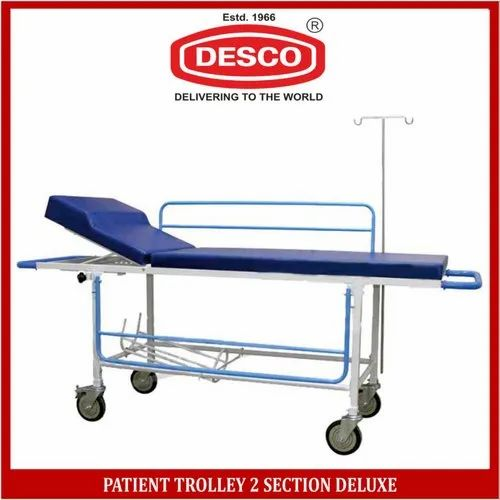 DESCO Silver Patient Trolley 2 Section Deluxe, Size: 210l X 55w X 80h Cms., For Hospital