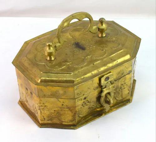 G7-Brass Items - Old Brass Jali Cut Work Paper Scroll Message Holder
