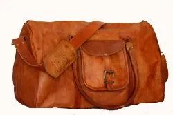 Brown Plain Leather Duffel Bag for travel, For Gym