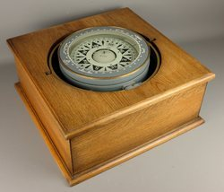 Vintage Wooden Box Gimbal Compass