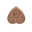 Floral Heart Shape Wooden Henna Print Block