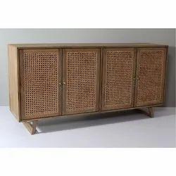 Wooden Cane Storage Sideboard Cabinet