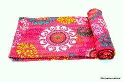 Kantha Suzani Gudri Cotton Discharge Printed Bed Cover