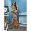 Green Floral Printed Saree, Length: 6 M
