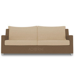 Modern Straight Line 3 Seater Sofa (Brown & Beige)