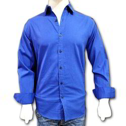 Cotton/Linen Mens Royal Blue Formal Shirt