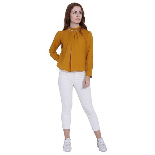 6bebdfdb3d7 Medium And Large Cotton Ladies Mustard Color Top