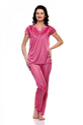 Pink Satin Lycra Solid Lace Work Night Wear Peach