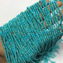 AAA Natural Real Turquoise Stones Faceted Rondelle Beads Strand