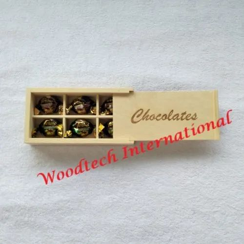 6 Compartment Wooden Chocolate Box