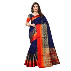 Navy Blue Colored Chanderi Silk Casual Wear Saree