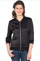 Small And Large Black Satin Bomber Jacket