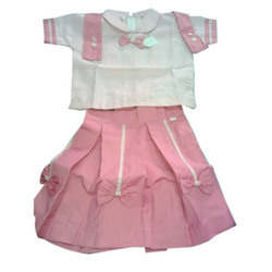Cotton Pink, White Kids Skirt Top