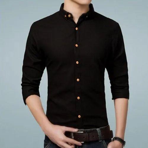 Plain Collar Neck Men Black Casual Wear