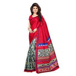 Red Printed Bhagalpuri Silk Saree