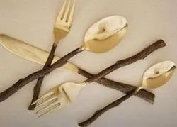 Wood Handle Brass Cutlery Sets