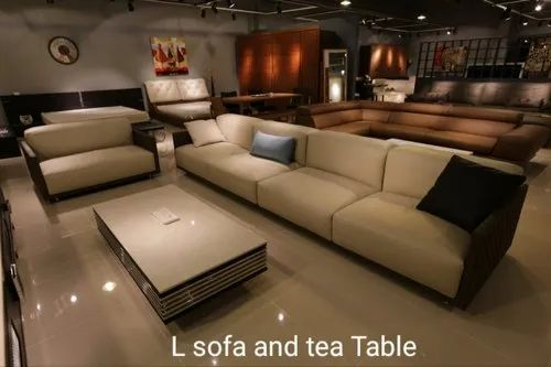 Wooden 7 Seater L Sofa And Tea Table