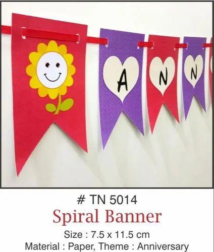 Multicolor Pretty Paper Anniversary Banner Spiral