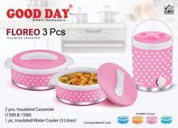 GOODDAY Plastic Floreo 3 Pc Picnic Set (2 Casserole 1500 Ml/ 1 Water Jug)