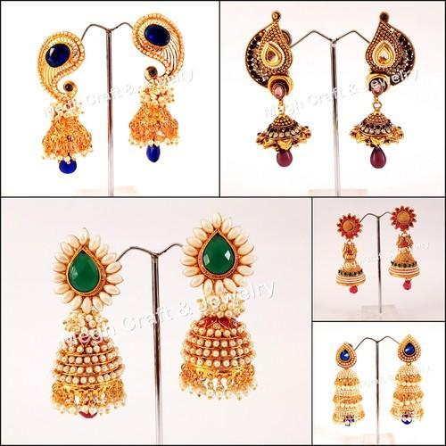 3df1e9a0e6 MEGH CRAFT Female Party Wear Over Sized One Gram Gold South Indian Bridal  Earring