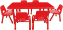 Red Frp Rectangle Table With Height Adjustable