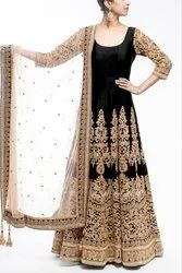 Designer Ethnic 3/4th Sleeves Heavy Embroidered Work Gown