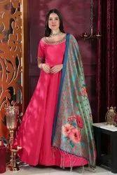 Embroidered Zari Beautiful Hot Pink Zardosi Handwork Party Wear Designer Gown