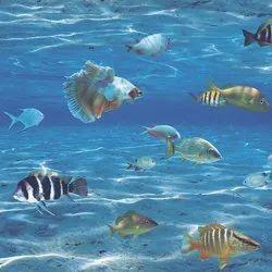 Korean Paper Vertical Aquarium Designer Wallpaper