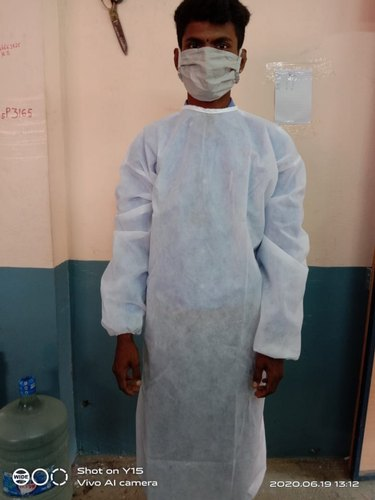 White Disposable Non Woven gown, For Safety & Protection, Size: free size