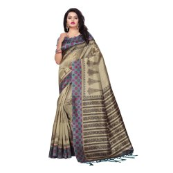 Beige Colored Poly Silk Casual Saree