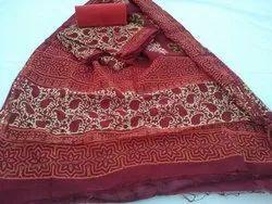 Unstitched Hand Block Printed Chanderi Silk Suit
