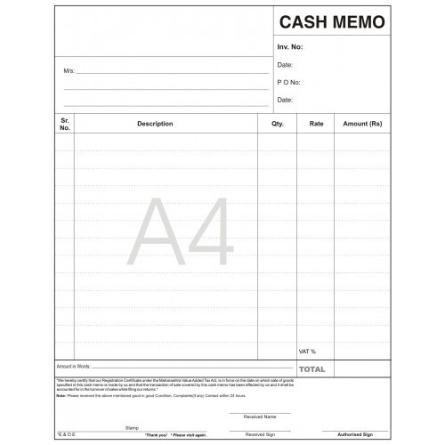 cash memo book at rs 299   piece